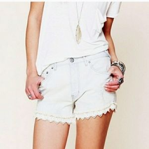 Free People Lace Hem Light Wash Shorts Size 26